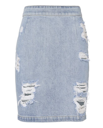 Denimina Distressed Mini Skirt, DENIM, hi-res