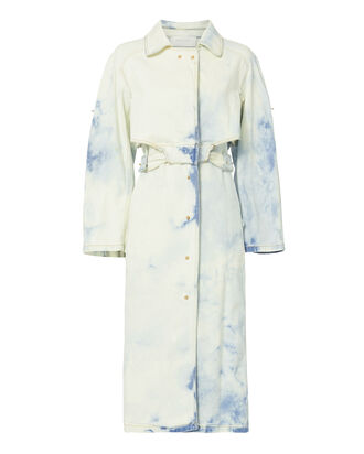Tie-Dye Denim Trench Coat, BLUE, hi-res