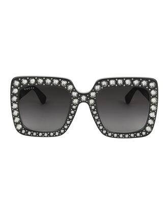 Oversized Runway Crystal Sunglasses, BLACK, hi-res