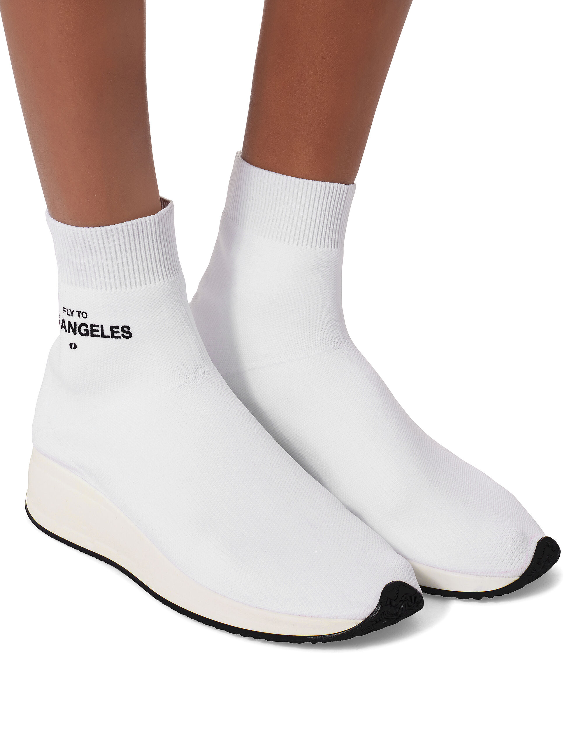 Fly To L.A. High-Top Sock Sneakers, WHITE, hi-res
