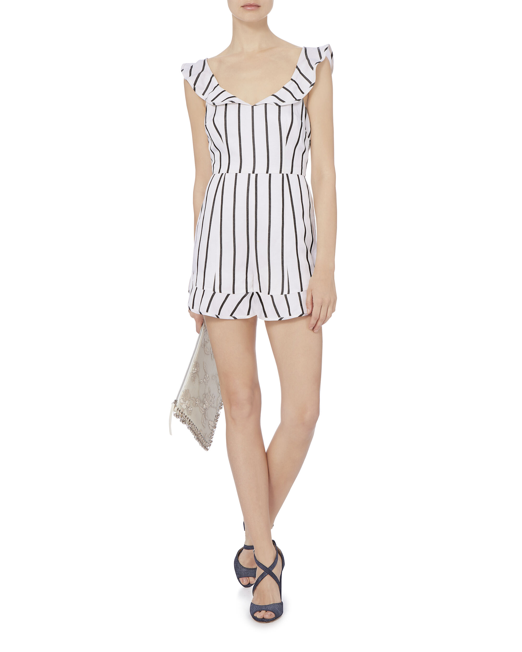 Rachel Striped Flutter Romper, PATTERN, hi-res