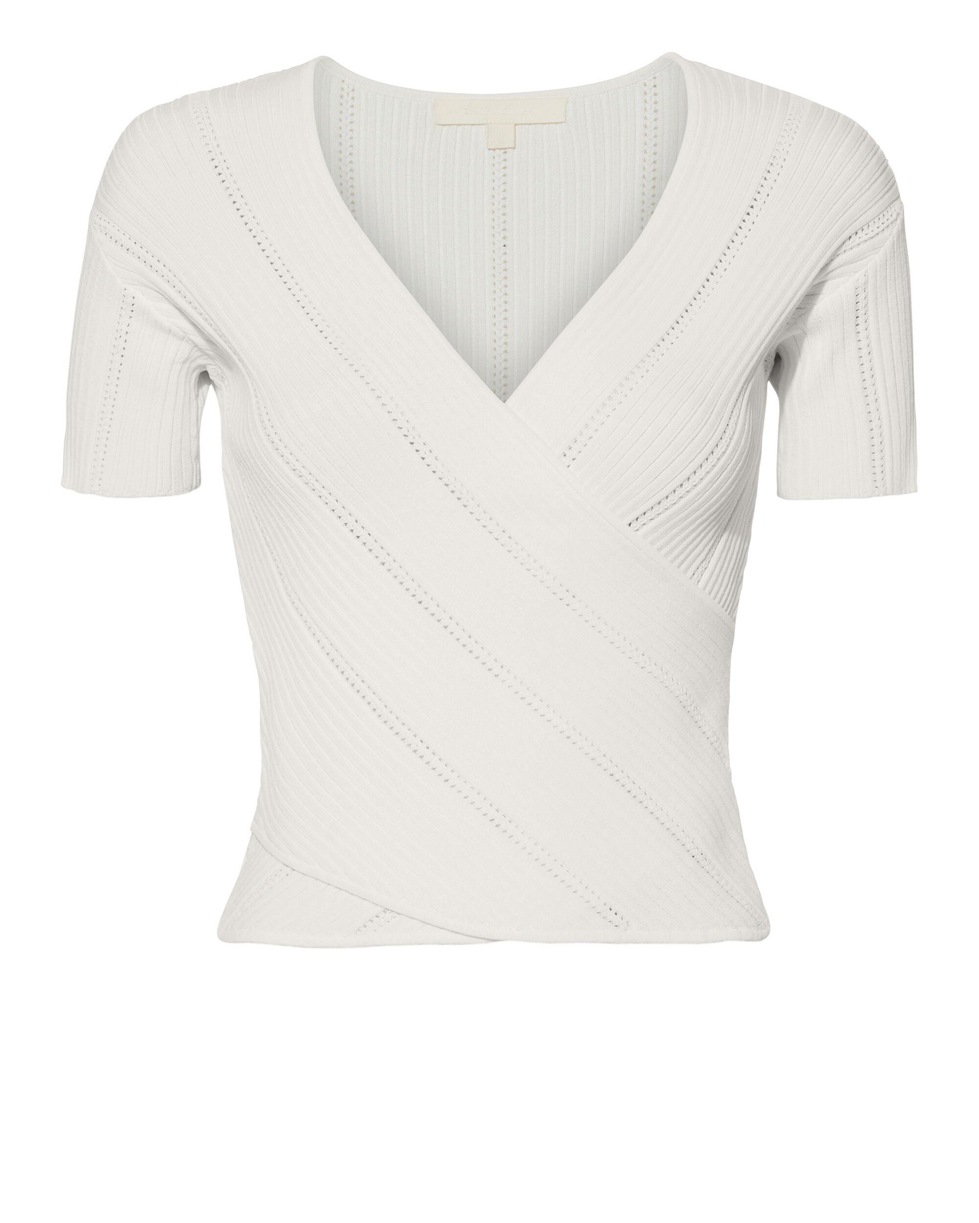 Crossover Ribbed Knit Top, IVORY, hi-res