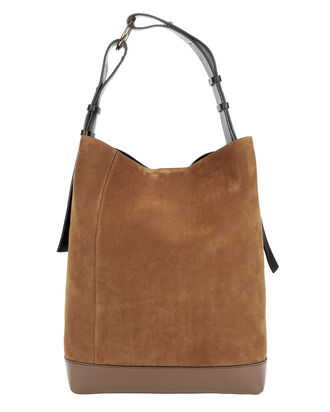Brown Suede Hobo Bag, BROWN, hi-res