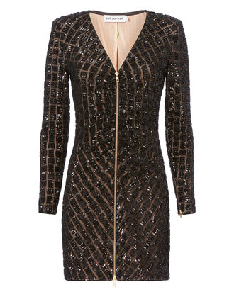 Sequin Zip Front Mini Dress, BLACK, hi-res