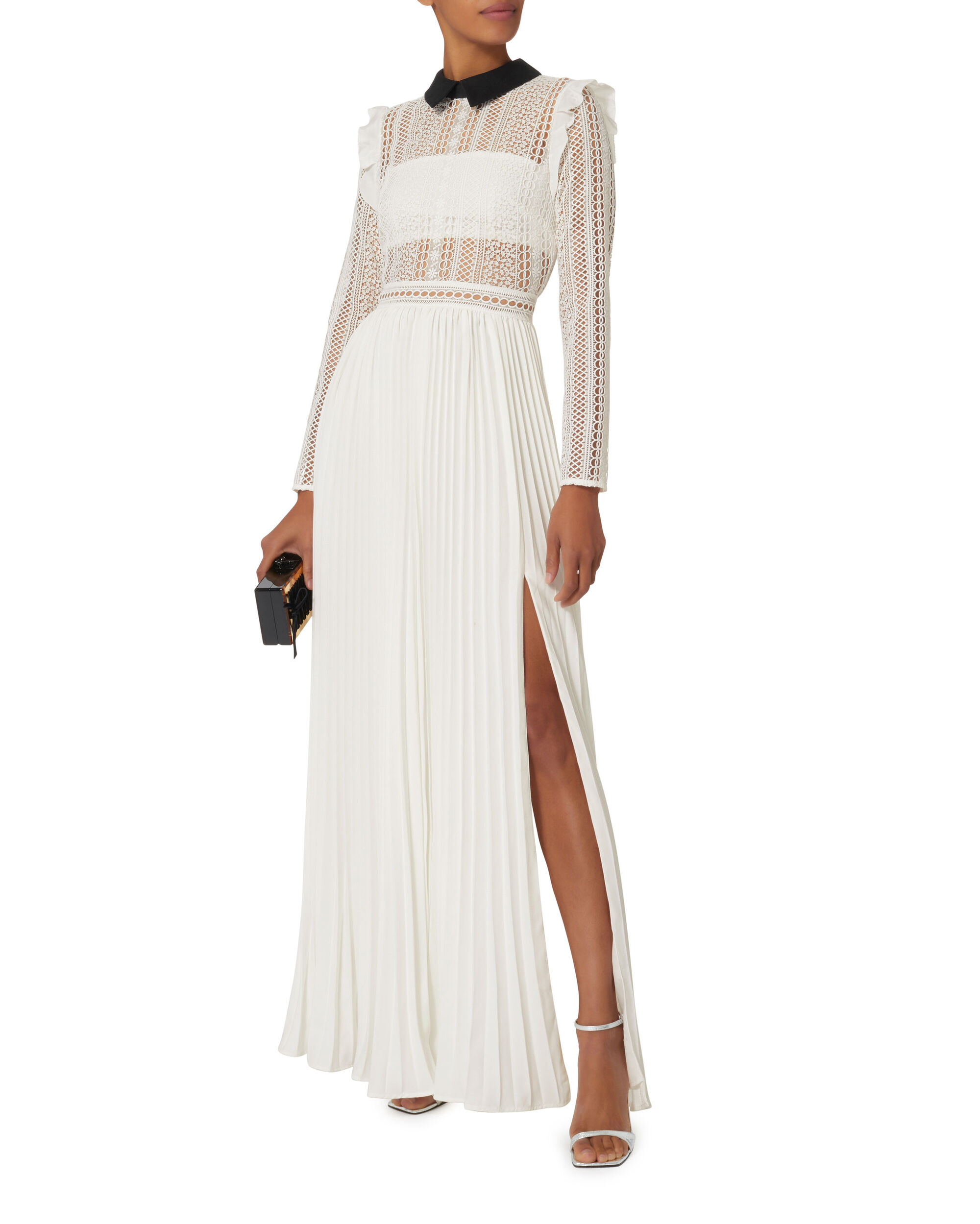 Lace Bodice And Pleated Skirt Gown, WHITE, hi-res