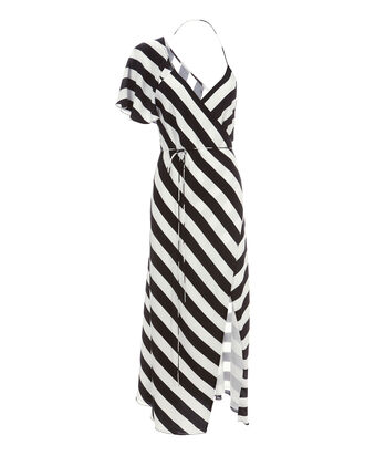 Striped Wrap Midi Dress, PATTERN, hi-res