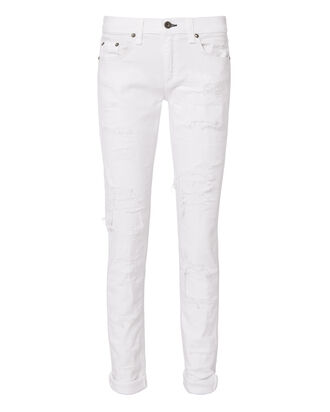 Dre Distressed White Jeans, WHITE, hi-res