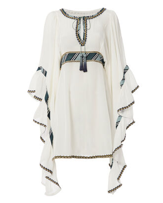 Waterfall Dramatic Sleeve Dress, WHITE, hi-res