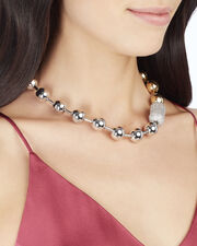 Pavé Ball Chain Two-Tone Necklace, MULTI, hi-res