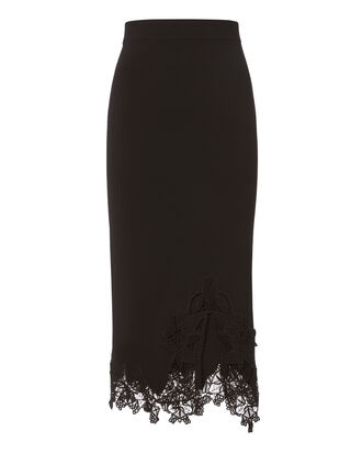 Lace Appliqué Knit Pencil Skirt, BLACK, hi-res
