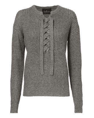 Kimmy Lace-Up Melange Sweater, GREY, hi-res