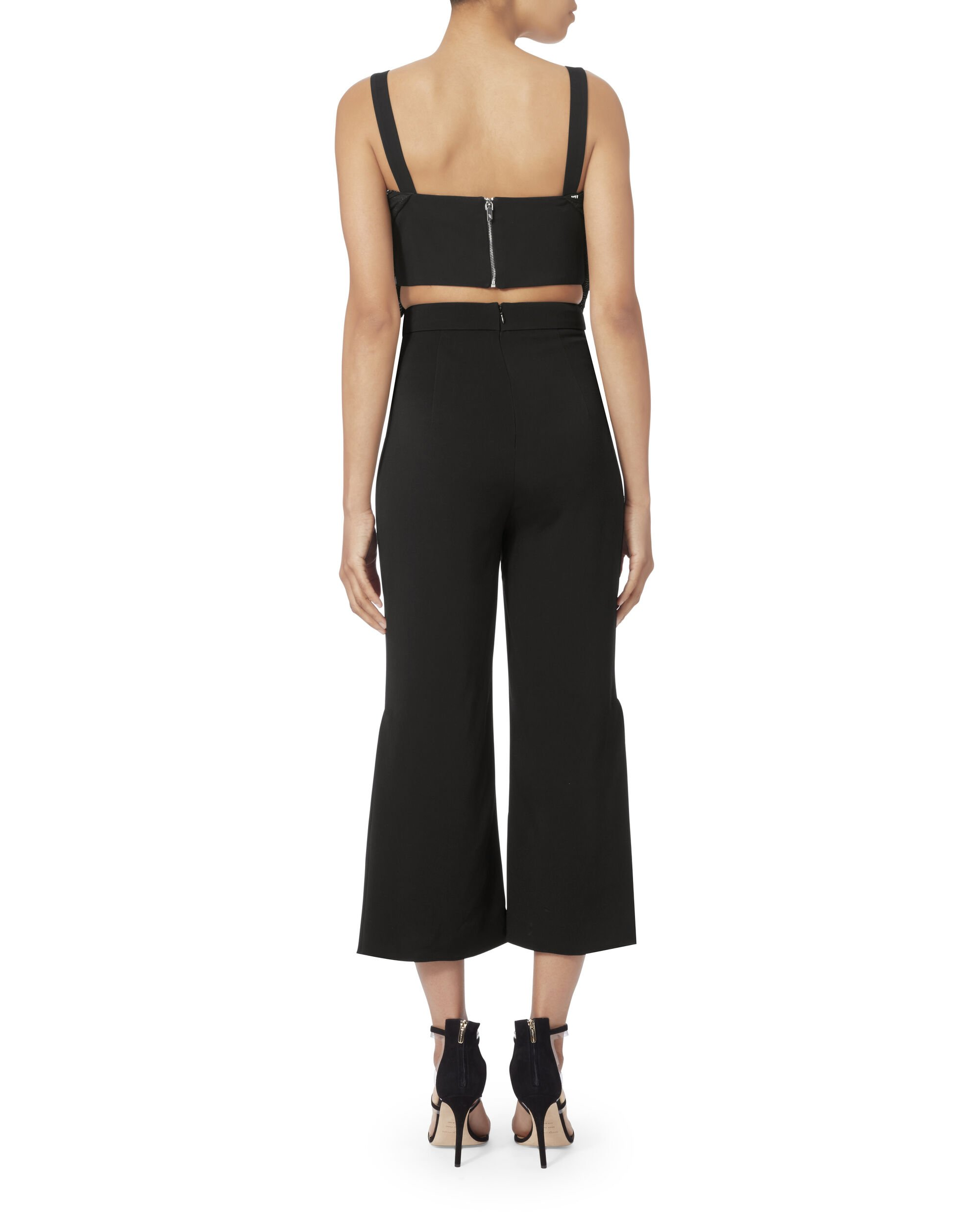 Side Pleated Cuff Cropped Pants, BLACK, hi-res