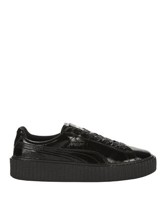 Creeper Black Leather Sneakers, BLACK, hi-res