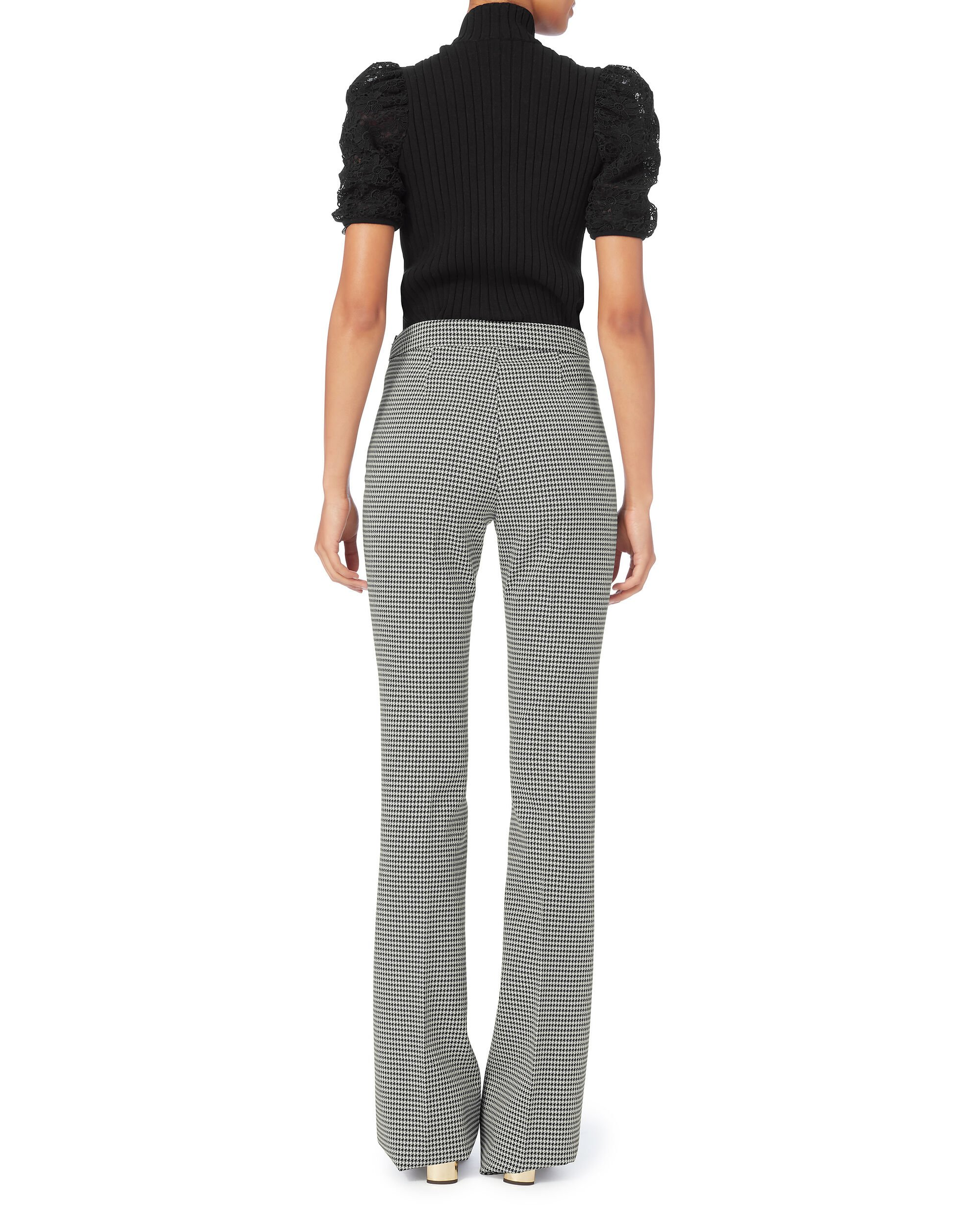 Houndstooth Flare Trousers, PAT-CHECK, hi-res