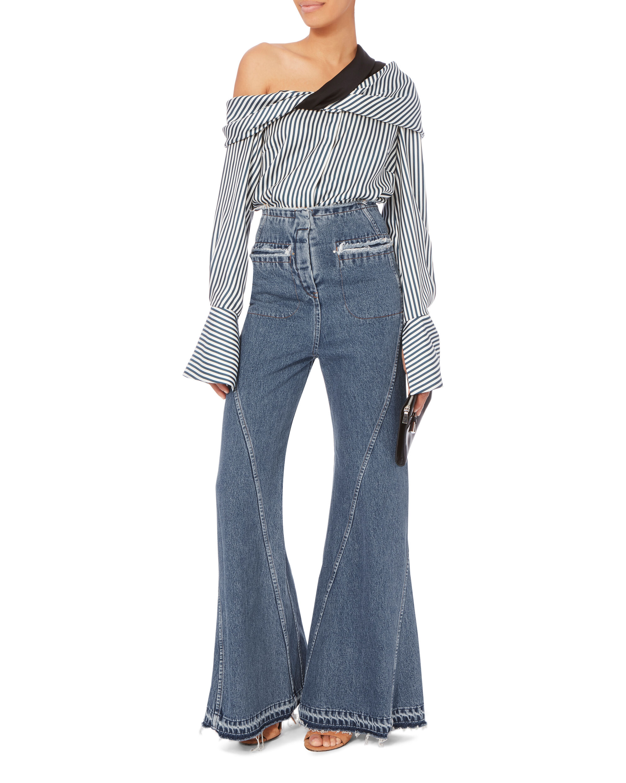 High-Waist Bell Flare Jeans, BLUE, hi-res