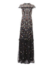 Posy Embroidered Gown, BLACK, hi-res