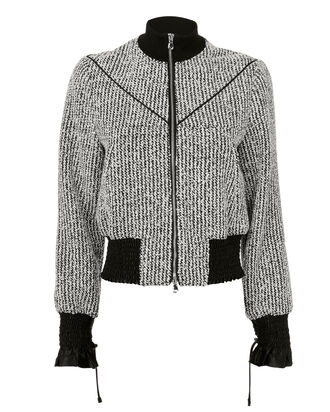 Bouclé Bomber Jacket, BLACK/WHITE, hi-res
