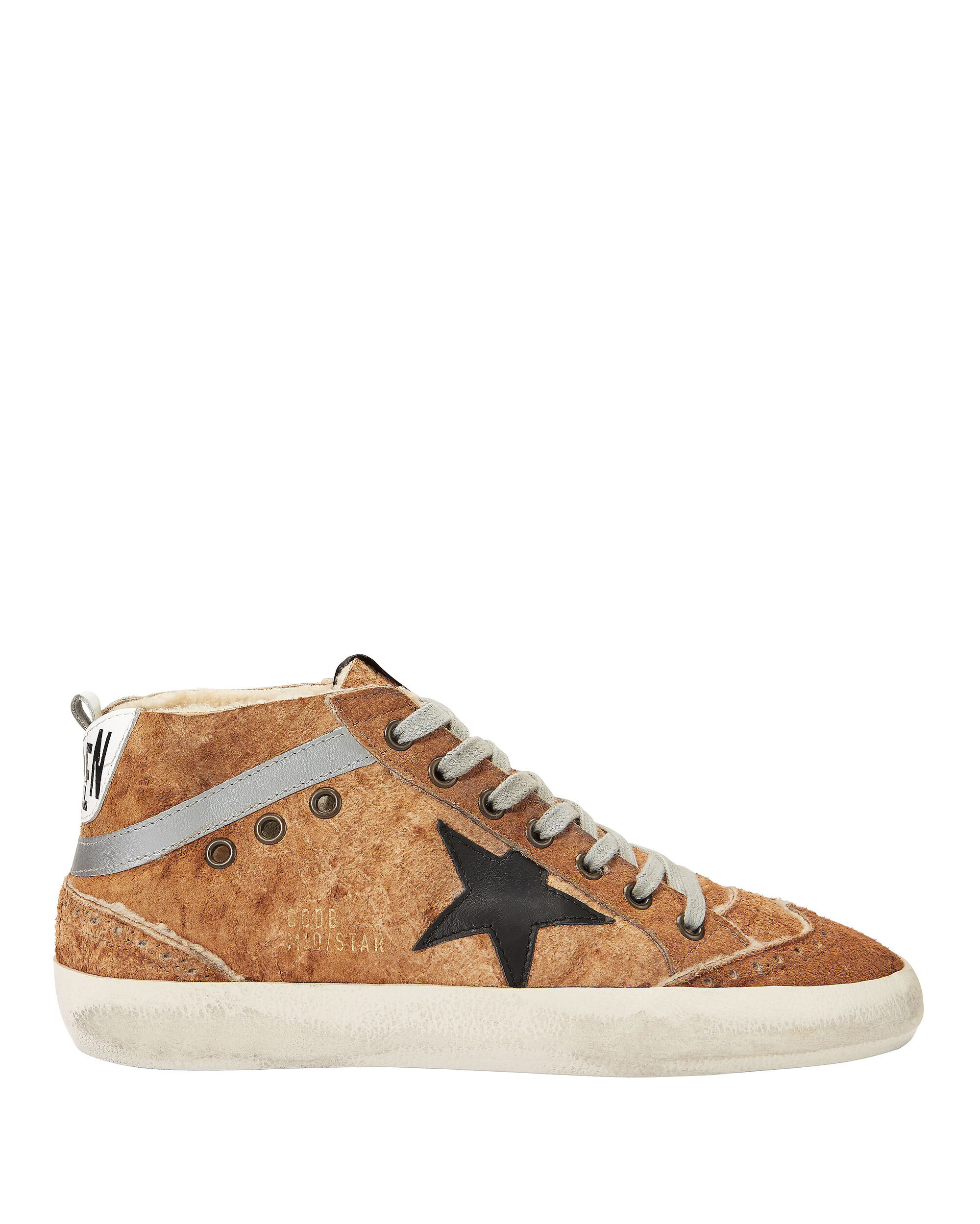 MID STAR BROWN LEATHER AND SHEARLING SNEAKERS BROWN