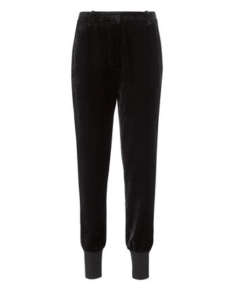 Velvet Jogger Pants, BLACK, hi-res