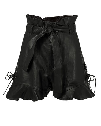Tina Leather Shorts, BLACK, hi-res