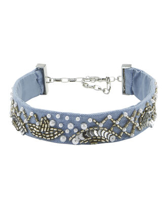 Amanda Embellished Denim Choker, DENIM, hi-res