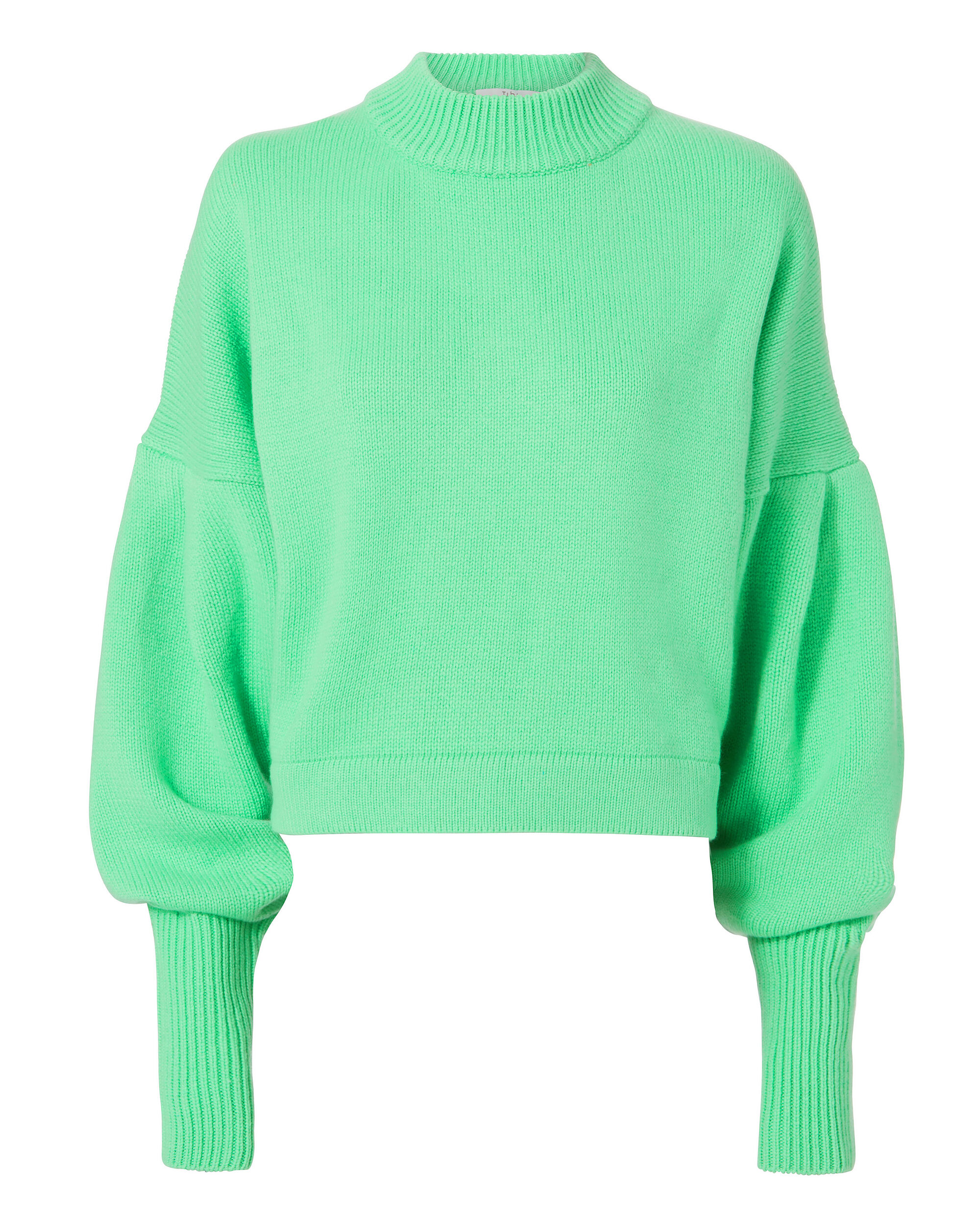 Bright Green Cropped Cashmere Pullover, GREEN, hi-res
