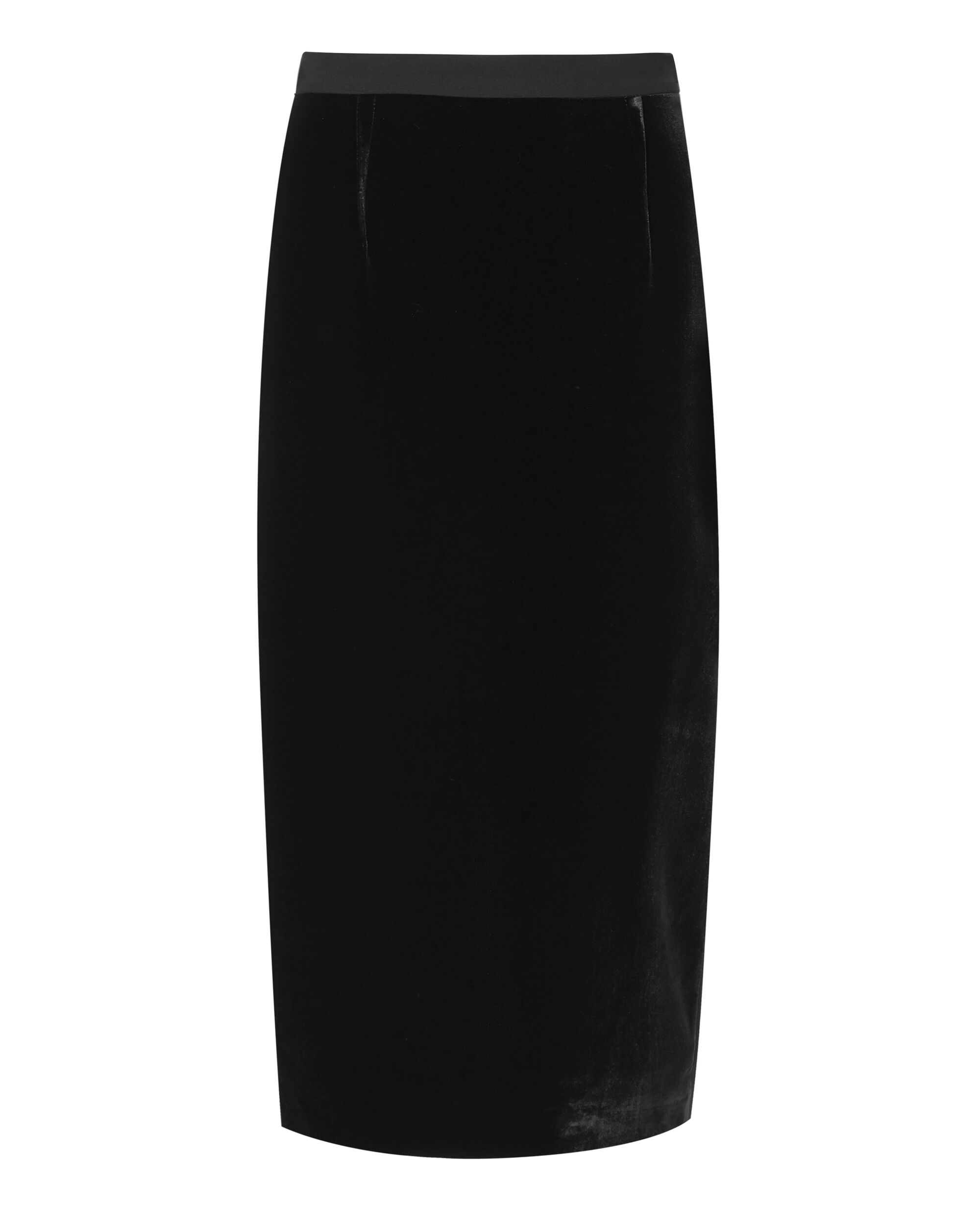 Velvet-Front Arreton Pencil Skirt, BLACK, hi-res