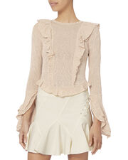 Ruffle Detail Pointelle Knit Sweater, IVORY, hi-res