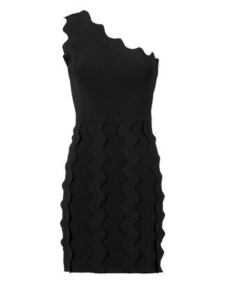 Zig Zag Appliqué  Knit Dress, BLACK, hi-res
