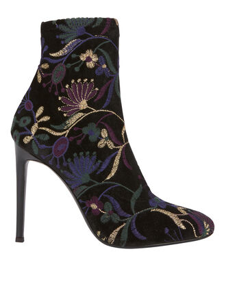 Magdalena Brocade Floral Booties, BLACK, hi-res
