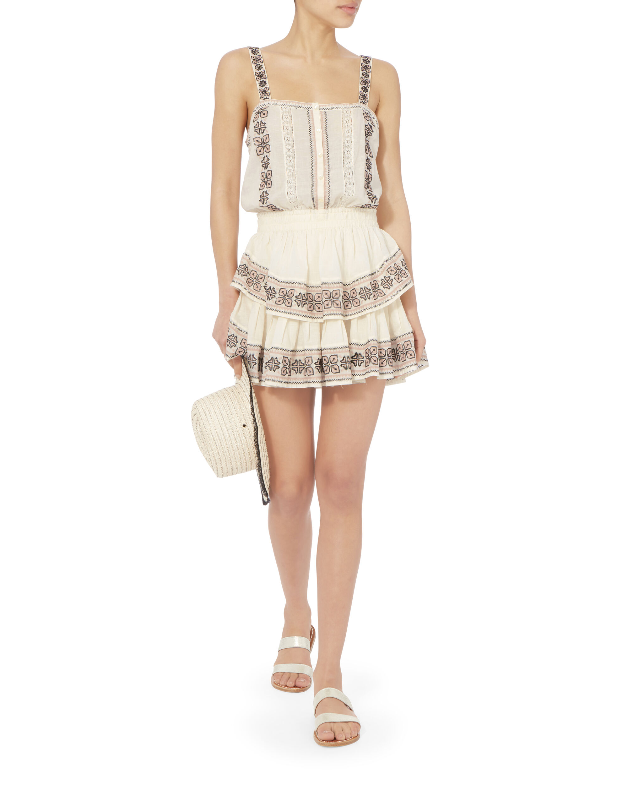 Anna Embroidered Tiered Dress, IVORY, hi-res