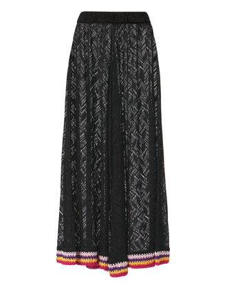 Rainbow Cuff Wide Leg Crochet Pants, BLACK, hi-res