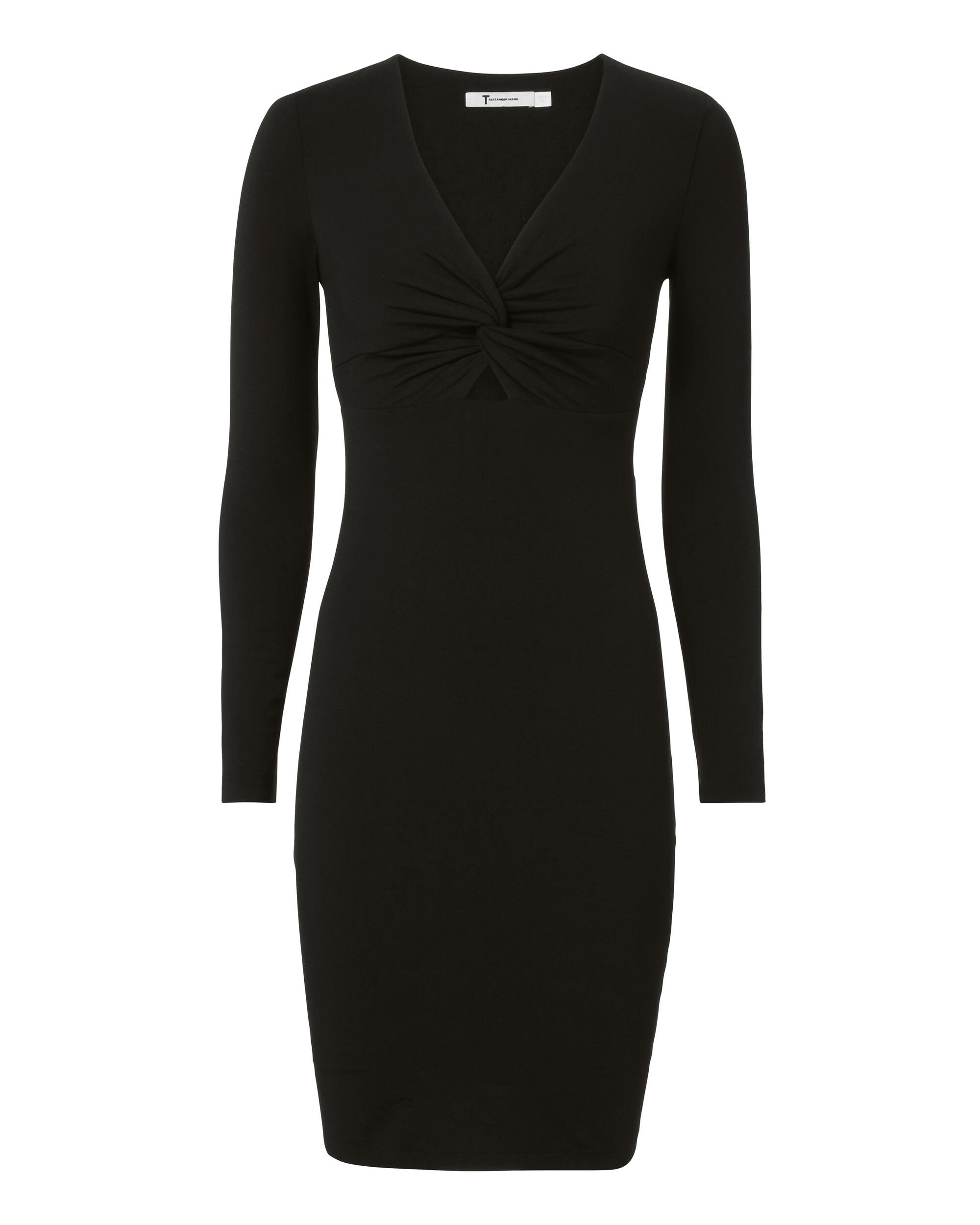 Twist Front Long Sleeve Dress, BLACK, hi-res