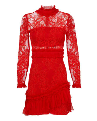 Wilhemina Lace Dress, RED, hi-res