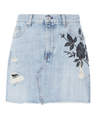 Ramona Embroidered Denim Mini Skirt, DENIM, hi-res