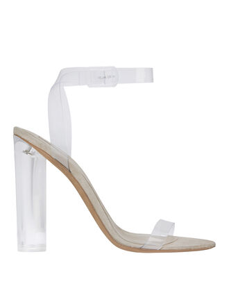 Transparent Ankle Strap Sandals, BEIGE/KHAKI, hi-res