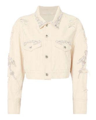 Crystal-Embellished Cropped Jean Jacket, WHITE, hi-res