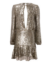 Tamera Silver Sequin Keyhole Mini Dress, , hi-res