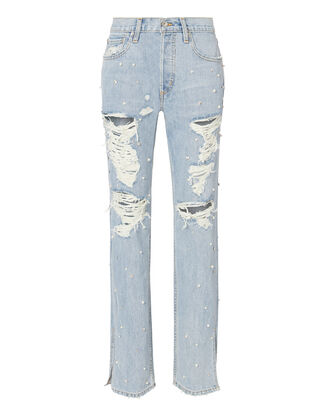 Pearl Studded Boyfriend Jeans, DENIM, hi-res