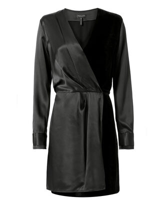 Victor Velvet Wrap Dress, BLACK, hi-res