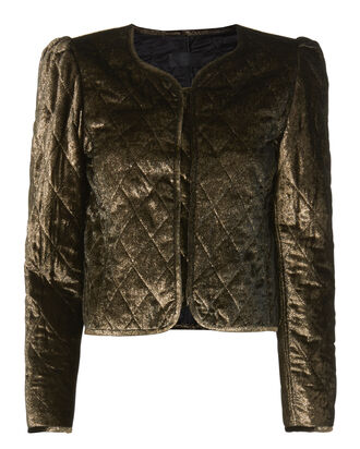 Vienna Gold Quilted Jacket, METALLIC, hi-res