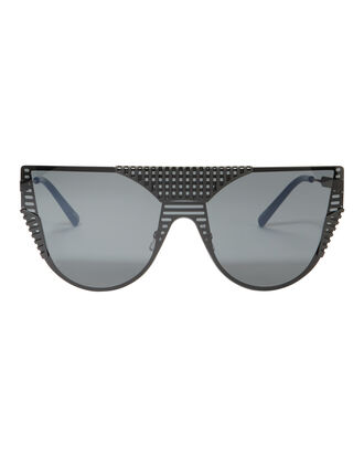 Cat Eye Matte Shield Sunglasses, BLACK, hi-res