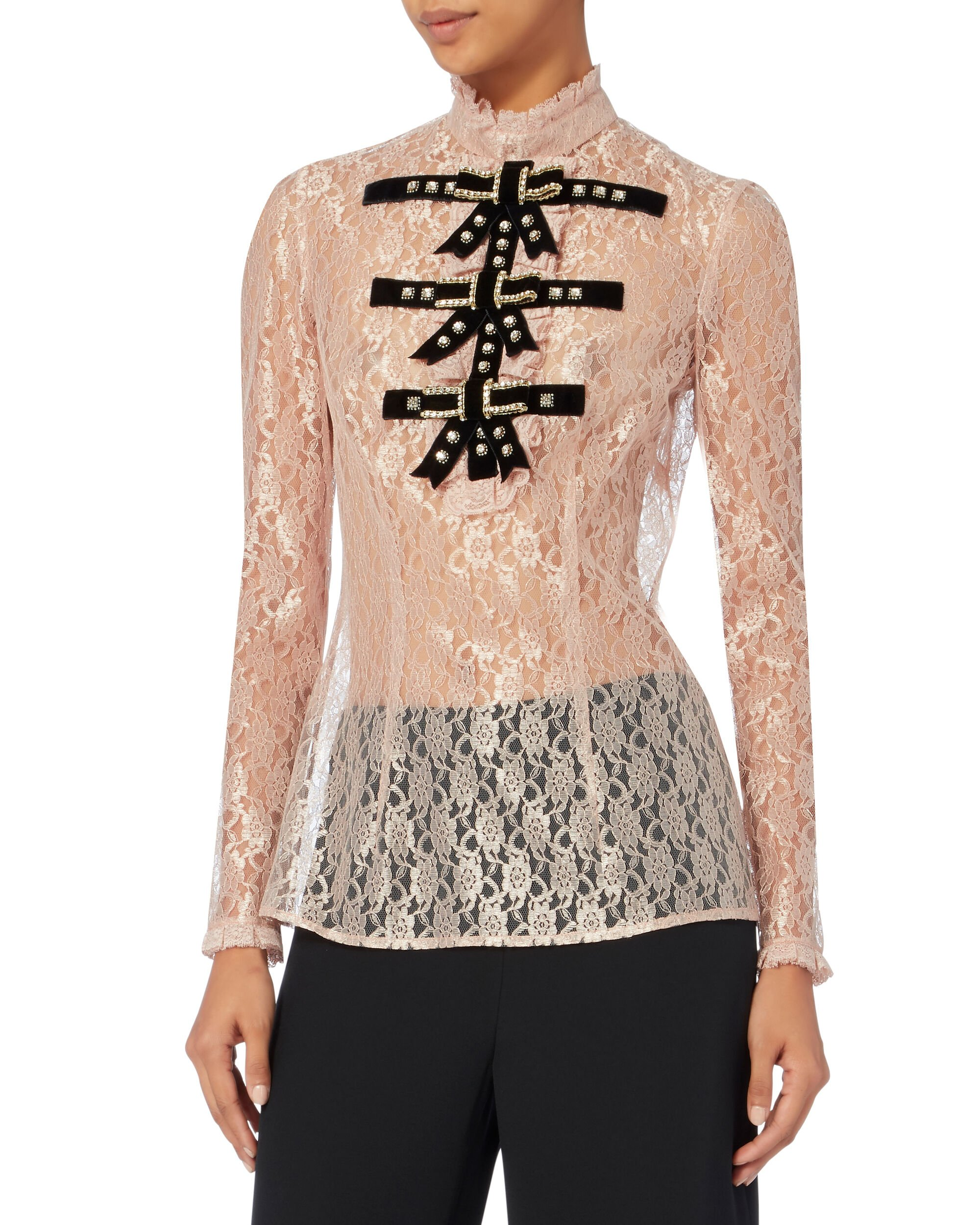 Crystal-Embellished Bow Tie Lace Top, PINK, hi-res