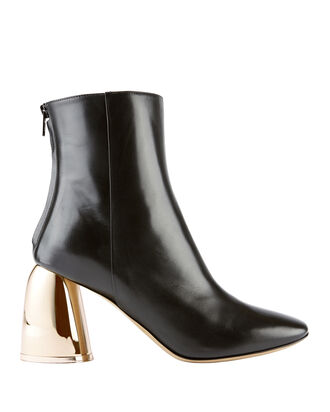 Jezebels Metallic Heel Cropped Booties, BLACK, hi-res