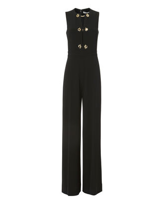 Grommet Detail Wide Leg Jumpsuit, BLACK, hi-res