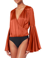 Bell-Sleeved Satin Bodysuit, ORANGE, hi-res