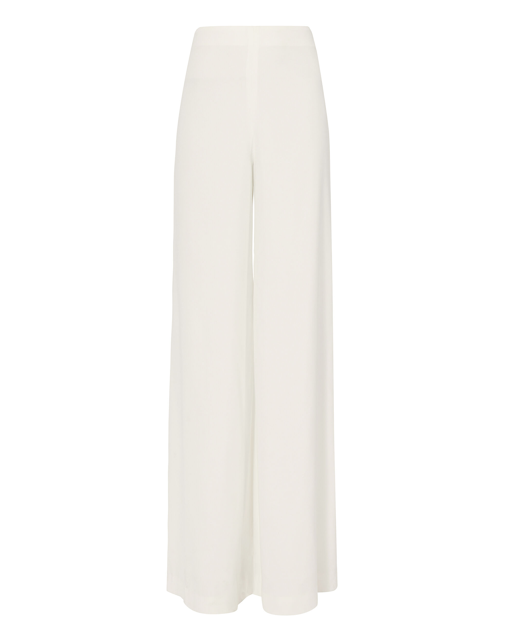 Satin Crepe Palazzo Wide Leg Pants, WHITE, hi-res