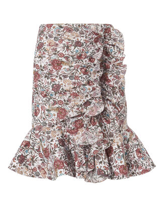 Floral Ruffle Mini Skirt, PRINT, hi-res