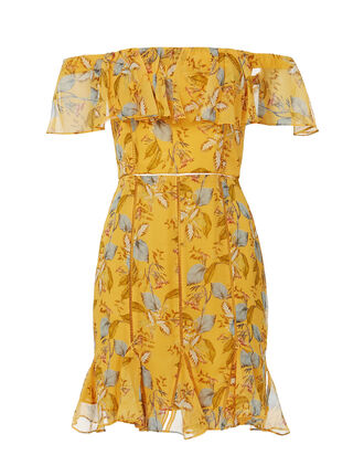 Yellow Floral Off Shoulder Dress, PRINT, hi-res