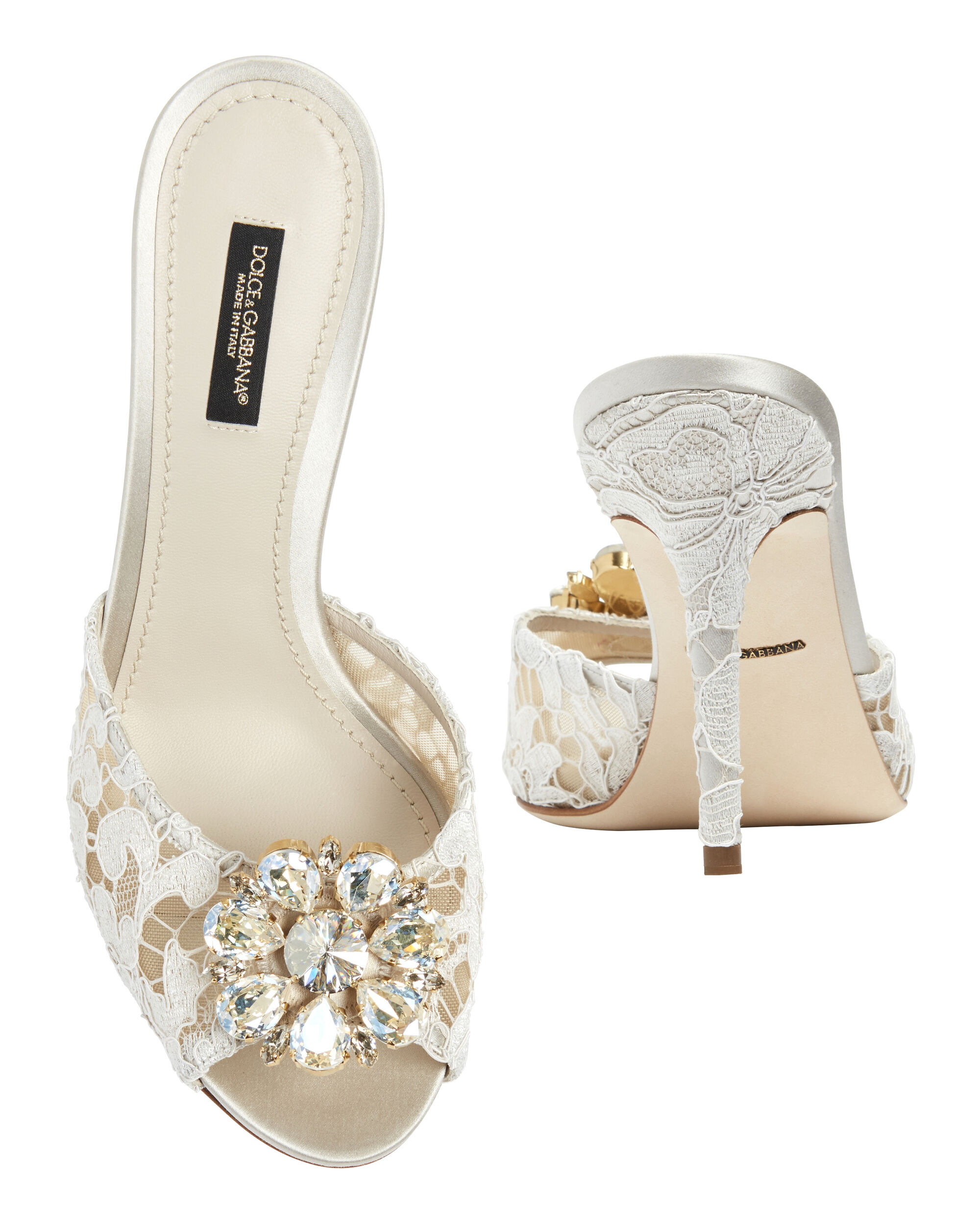 Jeweled White Lace High Heel Mules, WHITE, hi-res